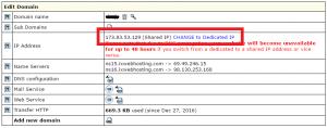 IX Web hosting Edit Domain