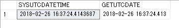GETUTCDATE(), SYSUTCDATETIME()の取得結果画面
